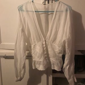 Cream free people small blouse wore once.